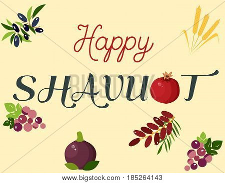 Happy Shavuot illustration with grape, date fruit, wheat, pomegranate, olives