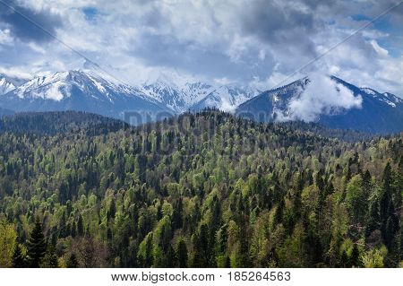 Sun shining through the clouds with silhouetted mountians. Beautiful view on Caucasus Mountains, Storm clouds and green summer forest.