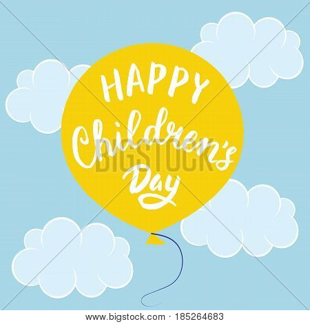 International Childrens day poster with balloon in sky