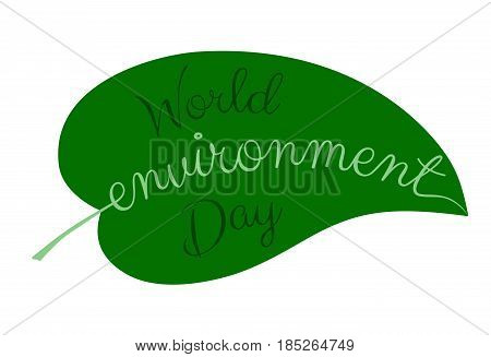 World Environment Day logo. Leaf with text isolated on white