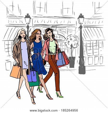 Walking women with shopping bags. Hand-drawn illustration. Fashion sketch