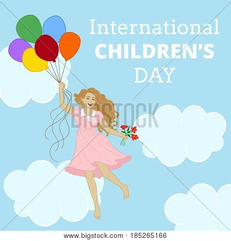 International Childrens day poster with girl and balloon in sky