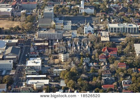 aerial view of downtown charleston south carolina