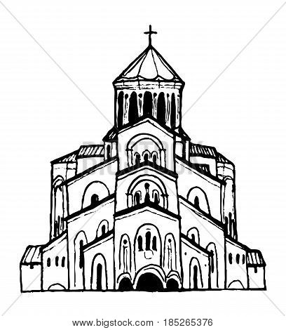Holy Trinity Cathedral in Tbilisi, Georgia. Hand-drawn sketch