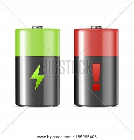 Vector realistic alkaline charging batteries icon set. Design template. Closeup isolated on white background. EPS10 illustration.