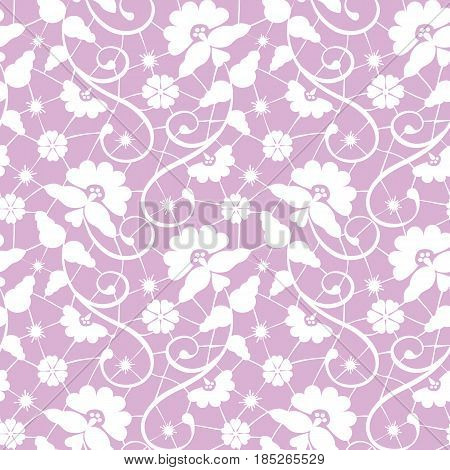 Seamless white and pink lace background with floral pattern