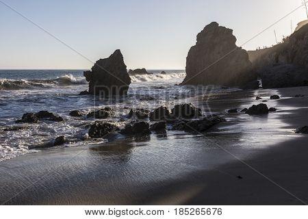 Malibu California pacific ocean rocks at El Matador State Beach.