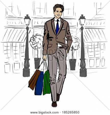 Man with shopping bags. Hand-drawn illustration. Fashion sketch