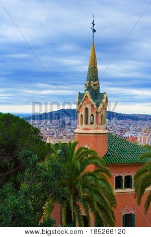 Barcelona Spain - April 1 2017: The tower of Gaudi House Museum
