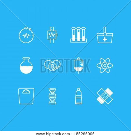 Vector Illustration Of 12 Health Icons. Editable Pack Of Tube, Pressure Gauge, Basket And Other Elements.