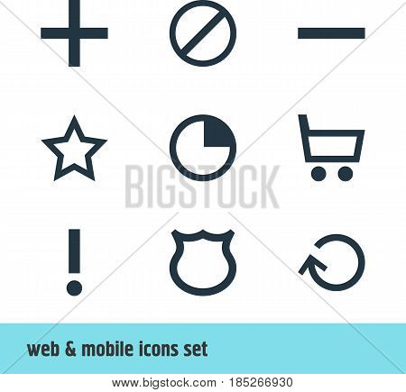 Vector Illustration Of 9 Interface Icons. Editable Pack Of Minus, Asterisk, Stopwatch And Other Elements.
