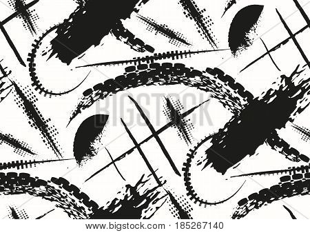 Vector seamless pattern with hand drawn textured brush strokes and stripes hand painted. 90s style pop art. Black and white colors.