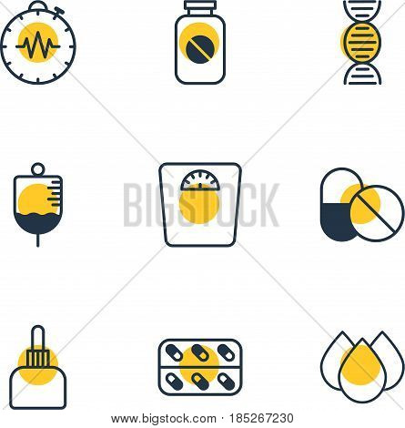 Vector Illustration Of 9 Health Icons. Editable Pack Of Trickle, Antibiotic, Weighing And Other Elements.