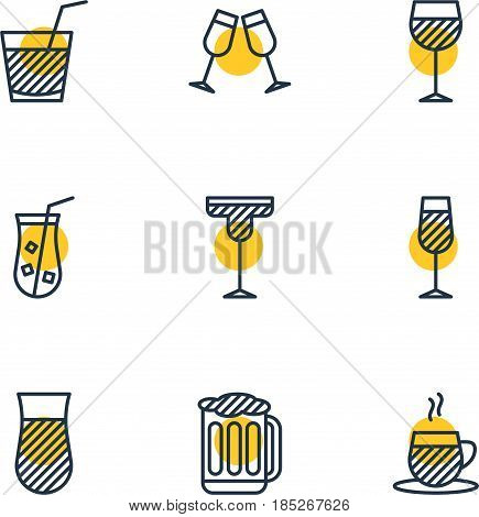 Vector Illustration Of 9 Beverage Icons. Editable Pack Of Glass, Cocktail, Goblet And Other Elements.
