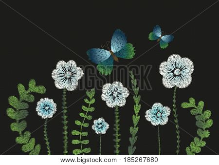 Embroidery imitation floral pattern border design.Vector illustration satin stitch fashion ornament with white, blue flowers, leaves, branches, butterflies isolated on black background.