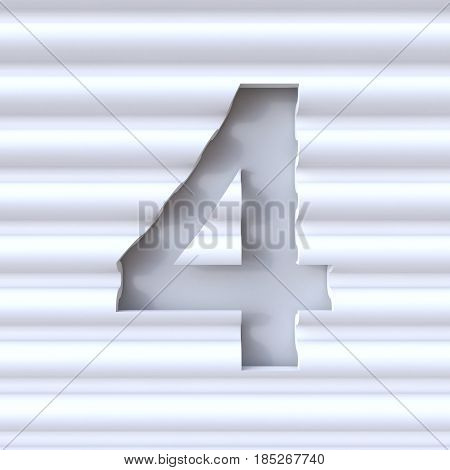 Cut Out Font In Wave Surface Number 4 Four 3D