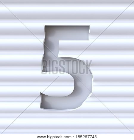 Cut Out Font In Wave Surface Number 5 Five 3D