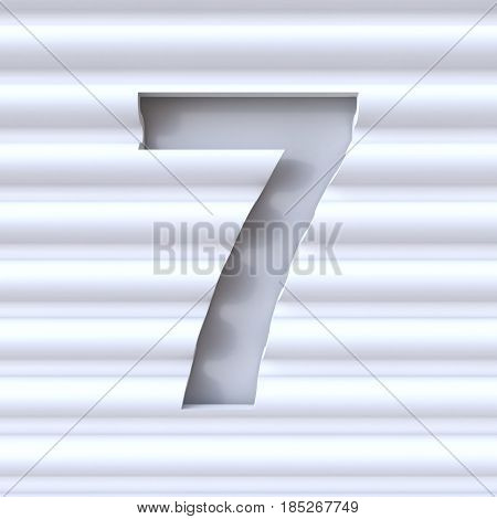 Cut Out Font In Wave Surface Number 7 Seven 3D