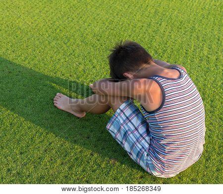 Sad boy alone
