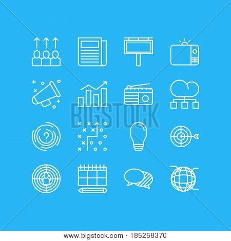 Vector Illustration Of 16 Ad Icons. Editable Pack Of Daily Press, Network, Cloud Distribution And Other Elements.