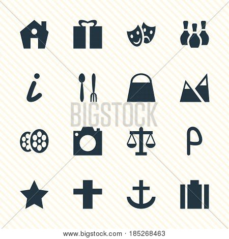 Vector Illustration Of 16 Check-In Icons. Editable Pack Of Cafe , Car Park, Landscape Elements.