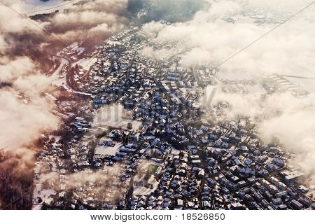 aerial view of Zurich Switzerland in winter with partial cloudcover