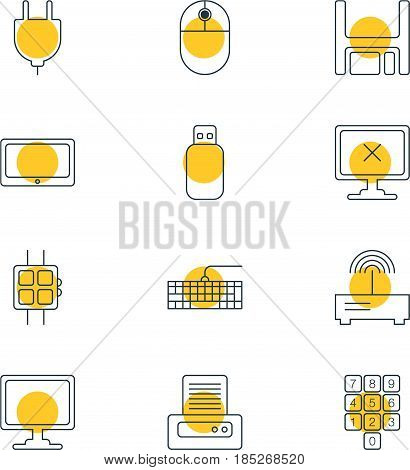 Vector Illustration Of 12 Laptop Icons. Editable Pack Of Router, Diskette, Socket And Other Elements.