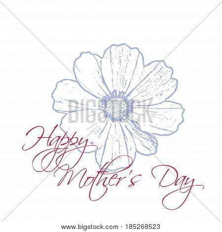 Happy Mother's Day concept with cosmos flower and Lettering Typography on a white background. Vector illustration for cards, banners, print