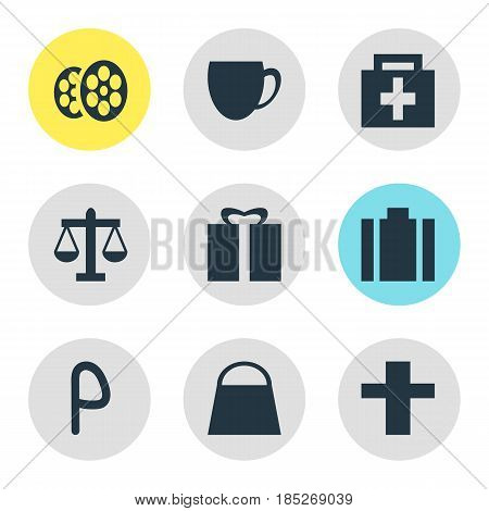 Vector Illustration Of 9 Map Icons. Editable Pack Of Briefcase, Handbag, Film Elements.