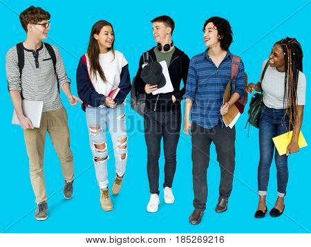 Group of Diverse High School Students Studio Portrait