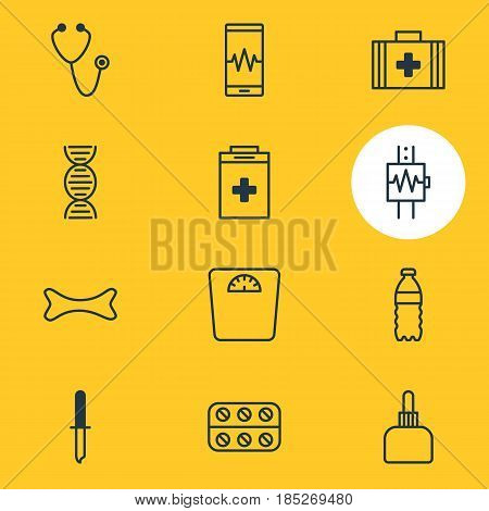 Vector Illustration Of 12 Health Icons. Editable Pack Of Genome, Medical Bag, Medicament Pitcher And Other Elements.
