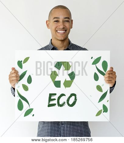 Adult Man with Recycle Sign Eco Friendly Save Earth Word Graphic