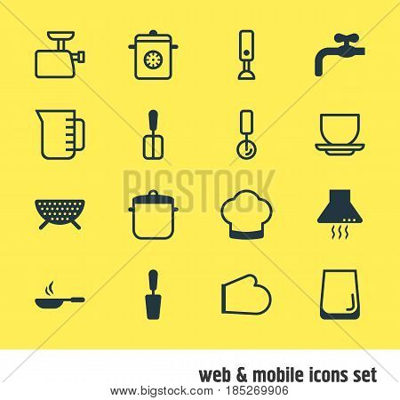 Vector Illustration Of 16 Kitchenware Icons. Editable Pack Of Cooking Spade, Sieve, Round Slicer And Other Elements.