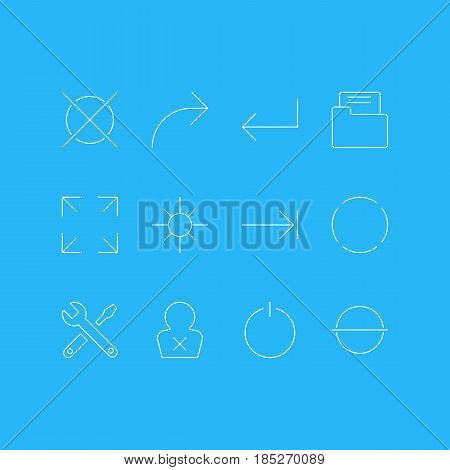 Vector Illustration Of 12 UI Icons. Editable Pack Of Cancel, Accsess, Switch Off And Other Elements.