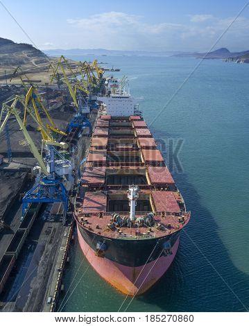 Vessel under loading in vostochny port Russia