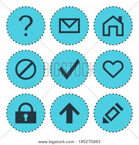 Vector Illustration Of 9 Interface Icons. Editable Pack Of Letter, Help, Confirm And Other Elements.