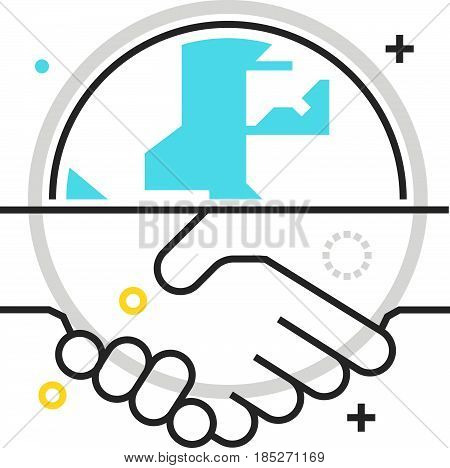 Color Box Hand Shake Icon, Background And Graphics