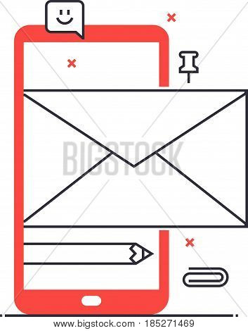 Multi Tone Icon, Mobile Mail Background And Graphic