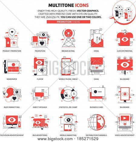 Multitone Icons, Advertisement, Backgrounds And Graphics