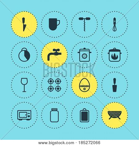 Vector Illustration Of 16 Cooking Icons. Editable Pack Of Can, Steamer, Wine And Other Elements.