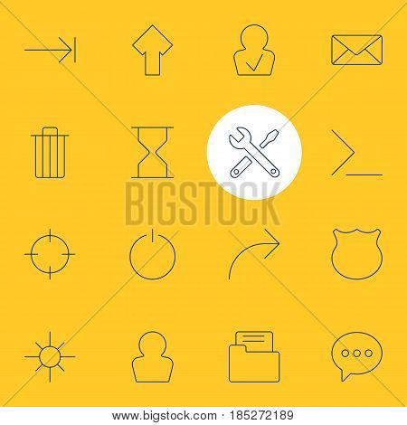 Vector Illustration Of 16 User Interface Icons. Editable Pack Of Switch Off, Screen Capture, Maintenance And Other Elements.