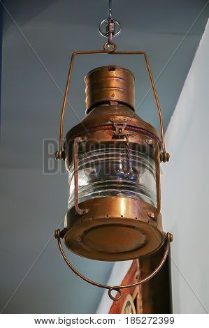 Interior vintage hanging copper lantern hanging in Buffalo, New York Brewpub in Erie County