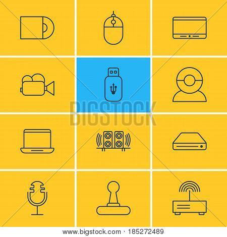 Vector Illustration Of 12 Hardware Icons. Editable Pack Of Computer, Memory Storage, Cursor Controller And Other Elements.