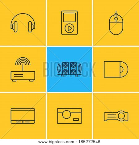 Vector Illustration Of 9 Accessory Icons. Editable Pack Of Photography, Modem, Monitor And Other Elements.
