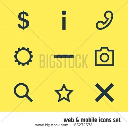 Vector Illustration Of 9 Interface Icons. Editable Pack Of Money Making, Seek, Minus And Other Elements.