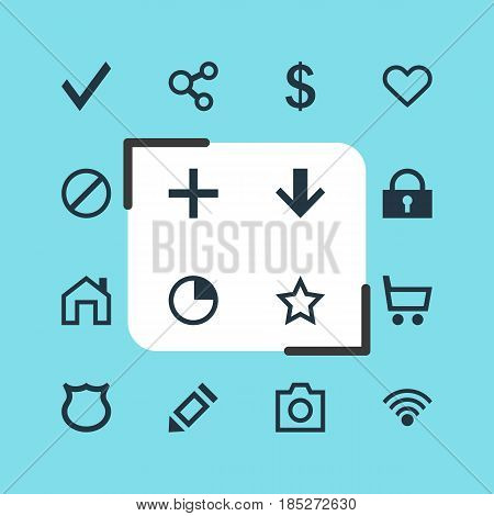Vector Illustration Of 16 Member Icons. Editable Pack Of Padlock, Cordless Connection, Access Denied And Other Elements.