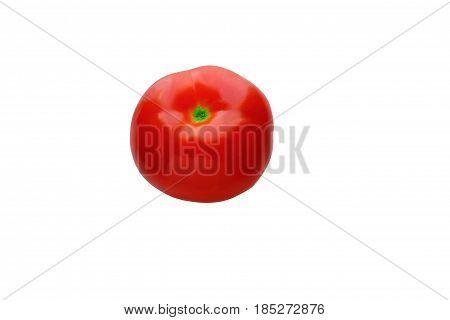 One ripe red tomato . Isolation, white background