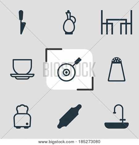 Vector Illustration Of 9 Restaurant Icons. Editable Pack Of Bakery Roller, Coffee Cup, Dinner Table And Other Elements.