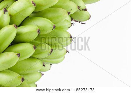 green  raw egg bananas or  egg banana   on white background healthy Pisang Mas Banana fruit food isolated