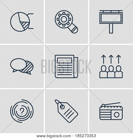 Vector Illustration Of 9 Advertising Icons. Editable Pack Of Daily Press, Circle Diagram, Analysis And Other Elements.